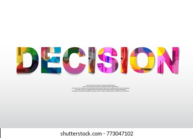 Decision Word creative design Concept . Modern Vector Illustration concept of word decision