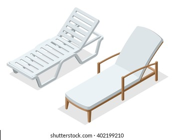 Deck chair or Beach chaise longue.  Flat 3d isometric illustration.
