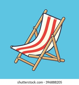 Deck chair icon on a blue background.