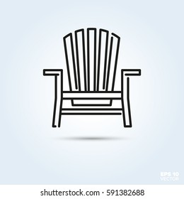 Deck chair Line Icon Vector. Summer holidays at beach or seaside symbol.