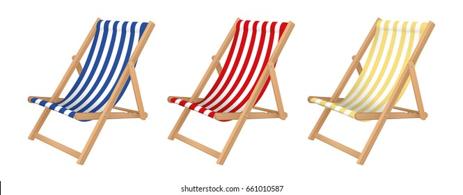 Deck chair set. Isolated for all backgrounds. Vector design.