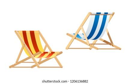Deck chair. wood chair vector
