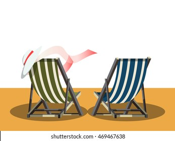 Deck chairs on the beach. Cartoon colorful vector illustration