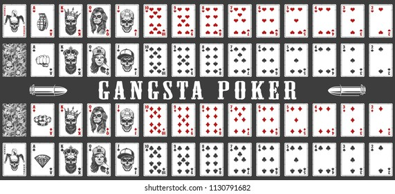 Deck of gangsta playing cards. Vector illustration