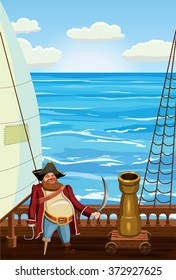 Deck of a sailboat with pirate and cannon, against the sea, vector illustration