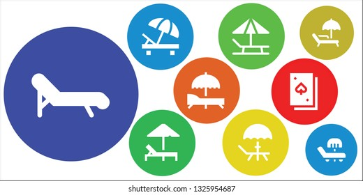 deckchair icon set. 9 filled deckchair icons.  Simple modern icons about  - Deck chair, Sunbed, Deck