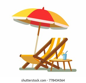 Deckchair and umbrella on the beach. Vector illustration