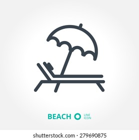 a deckchair with an umbrella vector icon