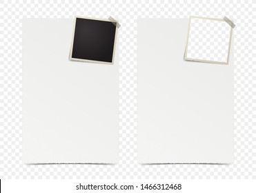 Deckle edge photo frame with piece of paper on transparent background