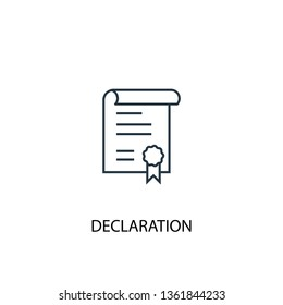 declaration concept line icon. Simple element illustration. declaration concept outline symbol design. Can be used for web and mobile UI/UX