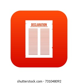 Declaration of independence icon digital red for any design isolated on white vector illustration
