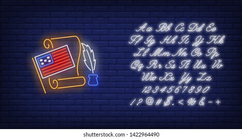Declaration of Independence neon sign. American flag, paper, feather, pen. Vector illustration in neon style for festive banners, light billboards, USA, 4th of July