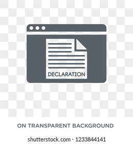 Declarations icon. Trendy flat vector Declarations icon on transparent background from Technology collection.