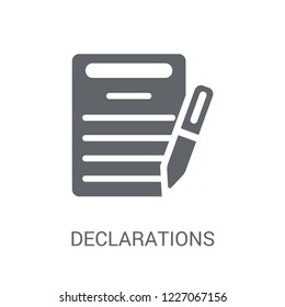 Declarations icon. Trendy Declarations logo concept on white background from Technology collection. Suitable for use on web apps, mobile apps and print media.