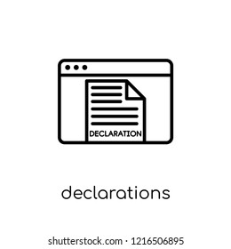 Declarations icon. Trendy modern flat linear vector Declarations icon on white background from thin line Technology collection, editable outline stroke vector illustration