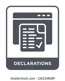 declarations icon vector on white background, declarations trendy filled icons from Technology collection, declarations simple element illustration