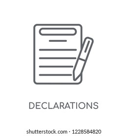 Declarations linear icon. Modern outline Declarations logo concept on white background from Technology collection. Suitable for use on web apps, mobile apps and print media.