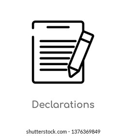 declarations vector line icon. Simple element illustration. declarations outline icon from technology concept. Can be used for web and mobile
