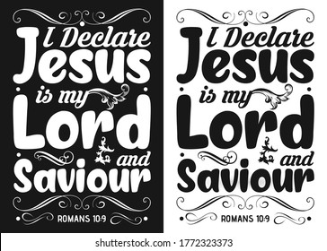 I declare Jesus is my lord and saviour-Christian cross with Bible verse, Christian Runner Bible Verse Women's t-shirt Design, Bible quote, Inspirational Motivational Quote