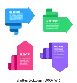 Decline, growth, success, recession business flat concept illustration. Graphs depict increase and decrease business. Vector template element for infographic, web, presentation, social networks.