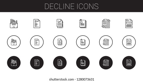 decline icons set. Collection of decline with files, file. Editable and scalable decline icons.