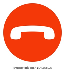 Decline phone call button. Handset icon. Red. Vector.