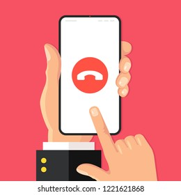 Decline phone call. Decline call button on smartphone screen. Hand holding mobile phone, finger touching screen. Modern flat design. Vector illustration