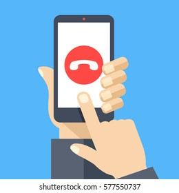 Decline phone call button on smartphone screen. Hand holding smartphone, finger touching screen. Reject call. Modern concept for web banners, web sites, infographics. Flat design vector illustration.