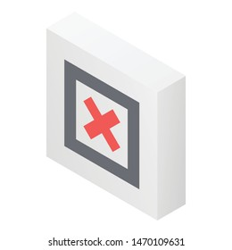 Decline red cross icon. Isometric of decline red cross vector icon for web design isolated on white background