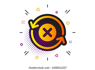 Decline update sign. Halftone circles pattern. Reject refresh icon. Rotation arrow. Classic flat reject refresh icon. Vector
