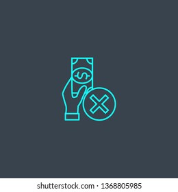 declined payment concept blue line icon. Simple thin element on dark background. declined payment concept outline symbol design. Can be used for web and mobile UI/UX