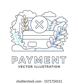 Declined payment Credit card vector stock illustration isolated on a white background. Concept of unsuccessful bank payment transaction. back side of the card with the cancellation mark is a cross