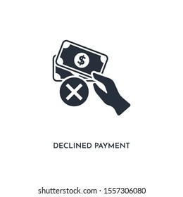 declined payment icon. simple element illustration. isolated trendy filled declined payment icon on white background. can be used for web, mobile, ui.