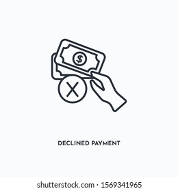declined payment outline icon. Simple linear element illustration. Isolated line declined payment icon on white background. Thin stroke sign can be used for web, mobile and UI.