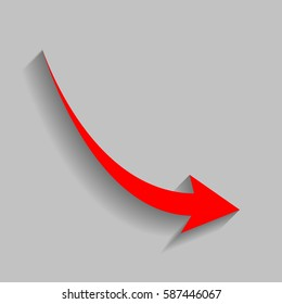 Declining arrow sign. Vector. Red icon with soft shadow on gray background.