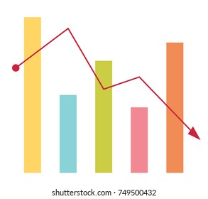 Declining bar chart with arrow going down vector cartoon illustration isolated on white background.