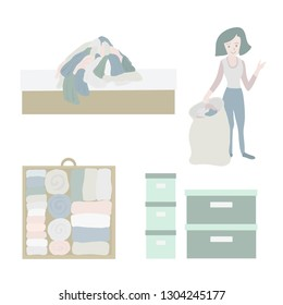 Declutter and Tidy up concept vector icon set. Closet organization illustration. Woman with bag decluttering and tidying her clothes. Before after. Drawer with folded clothes. Storage boxes