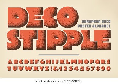 Deco Stipple Art Deco style alphabet. This font makes use of a classic vintage stippled shading style used on European poster art in the 1920s and 1930s. The bold lettering has a plumped up look.