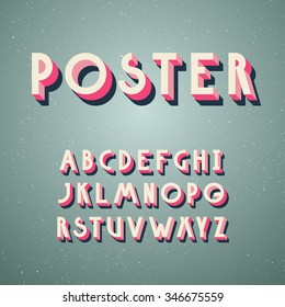Deco vintage poster typeface, font. Set of retro style latin capital letters.
