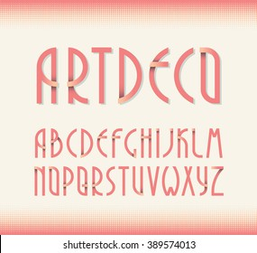 Deco vintage poster typeface, font. Set of retro style latin capital letters