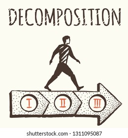 Decomposition. Any big goal is divided into small components. The man on the big arrow.