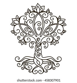 decor element, vector, black and white illustration, mandala, tree, contour, adult coloring book, doodle style, oriental style,  tattoo
