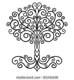 decor element, vector, black and white illustration, mandala, tree, adult coloring book, doodle style, tattoo