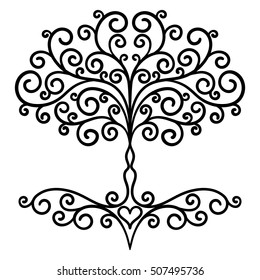decor element, vector, black and white illustration, mandala, tree, adult coloring book, heart