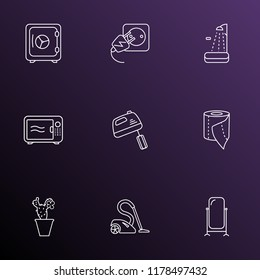 Decor icons line style set with electric socket, toilet paper, microwave and other stand vanity elements. Isolated vector illustration decor icons.