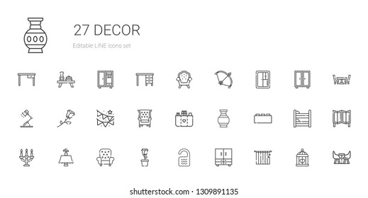decor icons set. Collection of decor with curtains, closet, room, rose, armchair, table, candelabra, bricks, vase, pocket, garland, desk lamp. Editable and scalable decor icons.