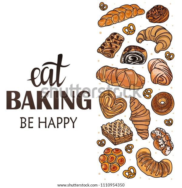お菓子 パン 焼き物を入れた店やカフェのデコール パン屋さん パン屋さん 手書きのイラストと文字 看板 ベクター画像 のベクター画像素材 ロイヤリティフリー