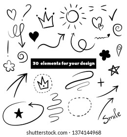Decorate your texts and photos with hand drawn elements.Swoops, emphasis doodles. Highlight text elements, calligraphy swirl, tail, flower, heart, graffiti, and crown.