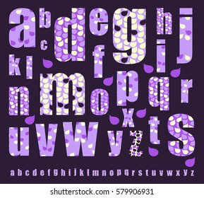 decorated alphabet with drops and petals pattern in purple shades