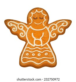 Decorated Angel Figure Gingerbread Cookie Holiday Symbol Sweet Bakery
